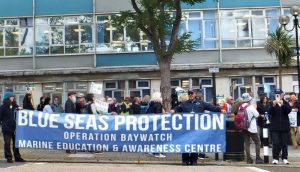 Oil drilling protest outside Council buildings, Isle of Wight